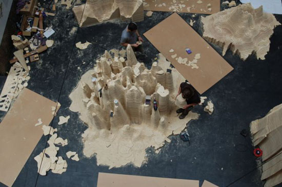 Arial view of plywood density map
